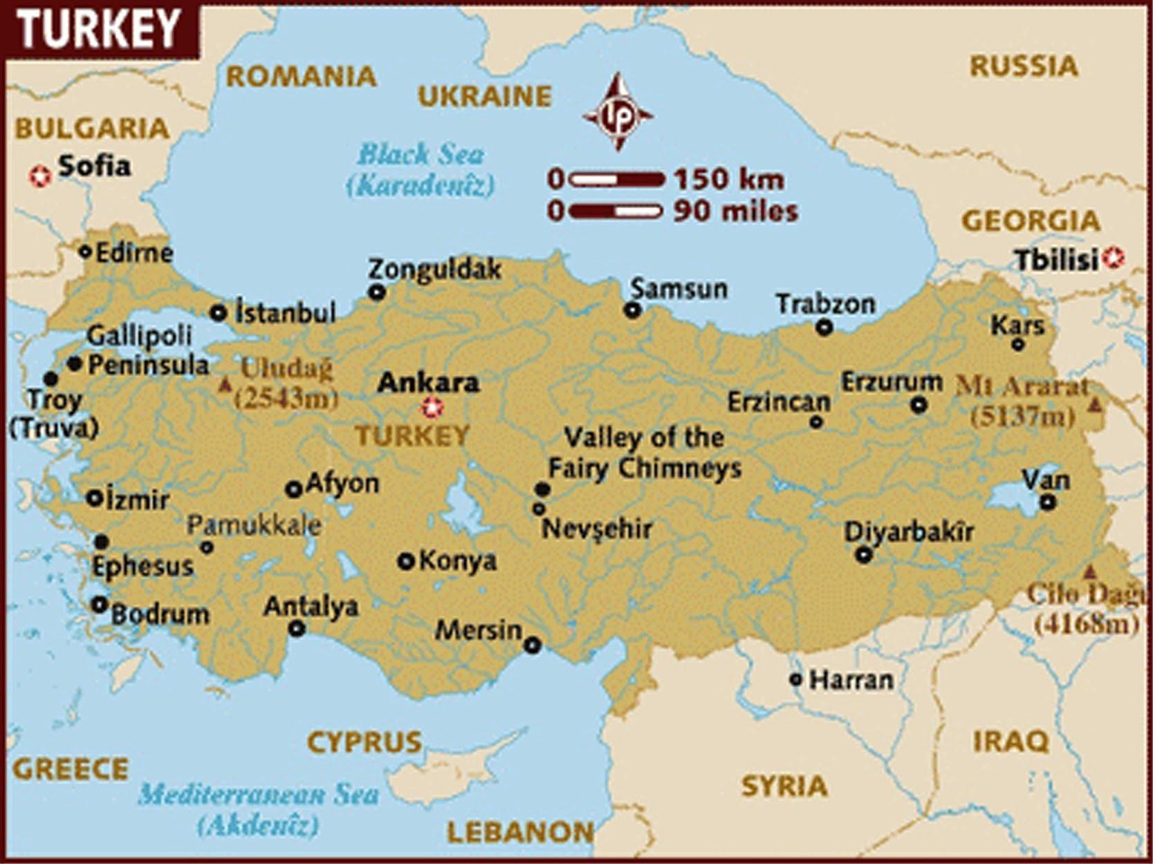 peta wilayah negara turki