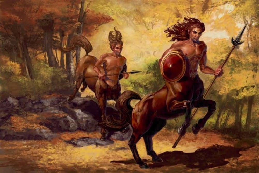lukisan dua centaur membawa tombak dan tameng
