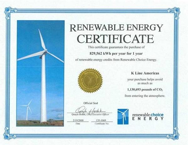 Contoh Renewable Energy Certificates (REC)