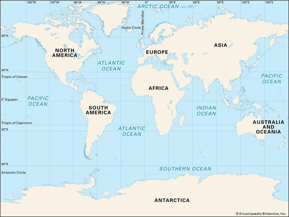 peta lima samudera di dunia