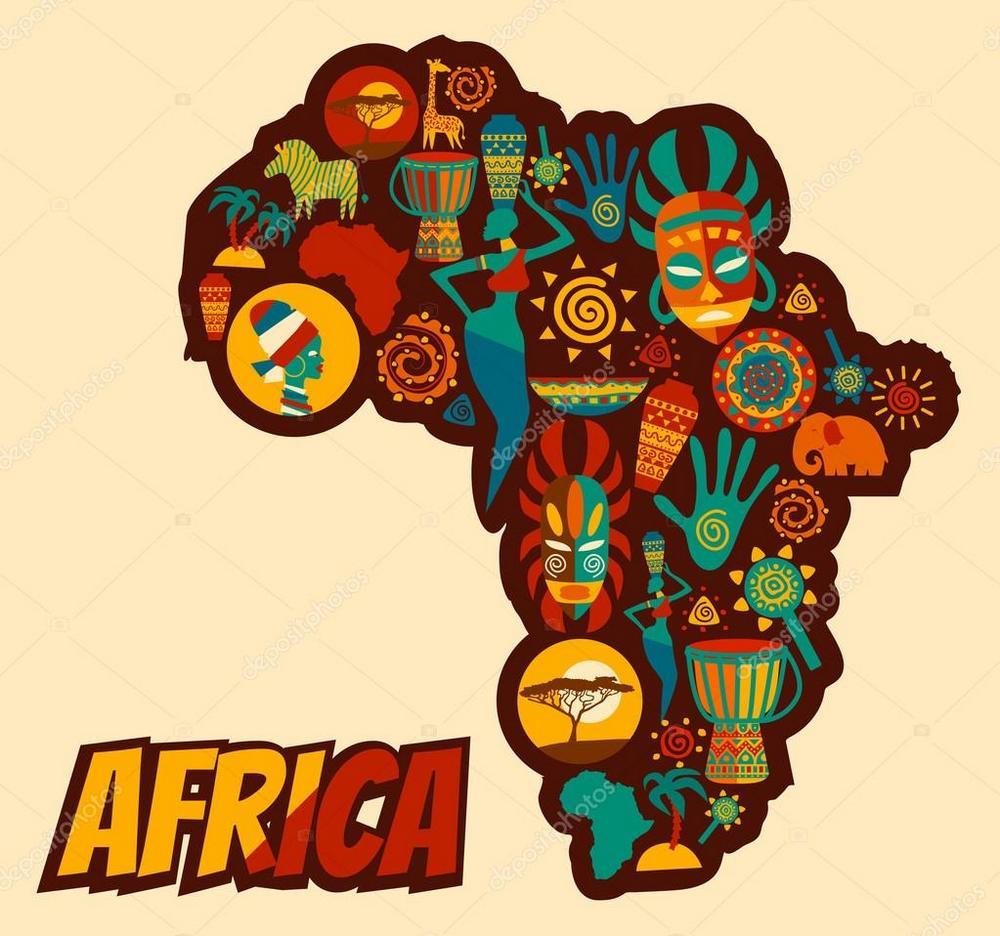 peta benua afrika dengan hiasan warna-warni