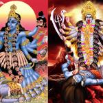 dua versi lukisan dewi hindu, kali