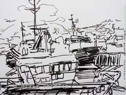 Monochrome drawing of fishing boats near the pier in Stromness Harbour, Orkney, with the town on the hill behind and the mountains of Hoy under cloud in the distance