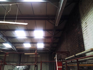 looking up at the skylights in the factory
