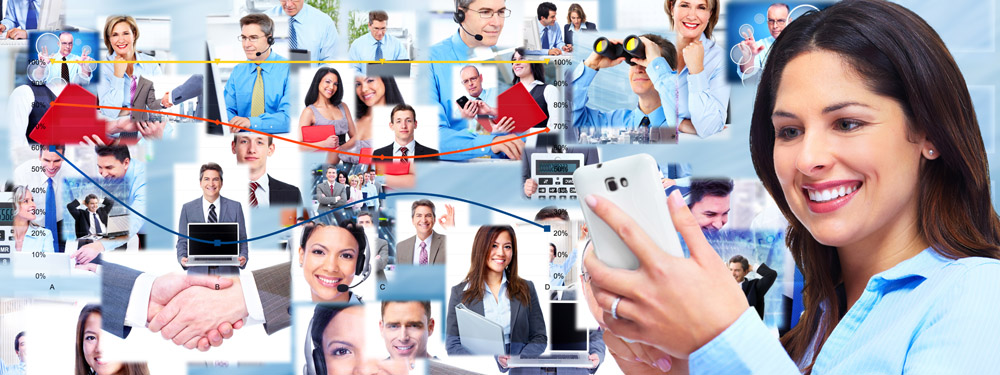 Business woman with a smartphone. Collage.
