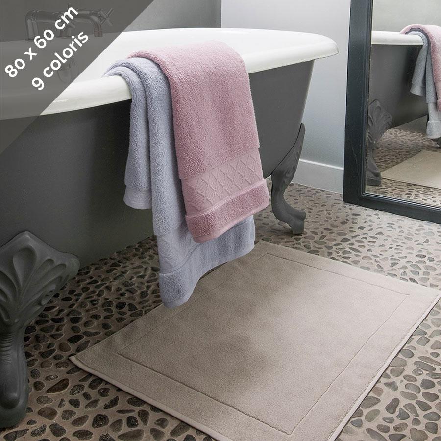 tapis de bain en eponge unie 80x60 cm caresse