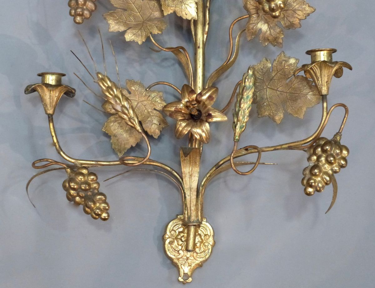 PAIR OF GILT METAL FLOWER CANDLE WALL SCONCES - Stock ... on Candle Wall Sconces With Flowers id=81990