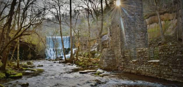 Mirror Lake Falls and Mill at Blanchard Springs