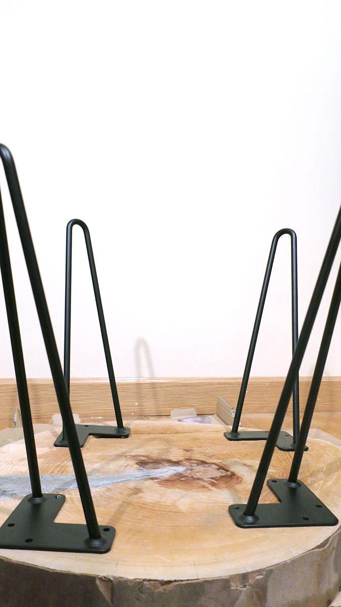 Mesa de centro con patas met licas de horquilla diy - Patas metalicas para mesas ...