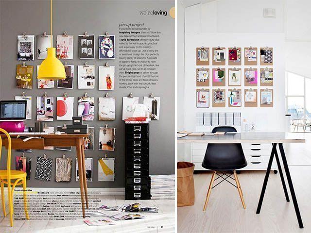 decorar una pared con clipboards
