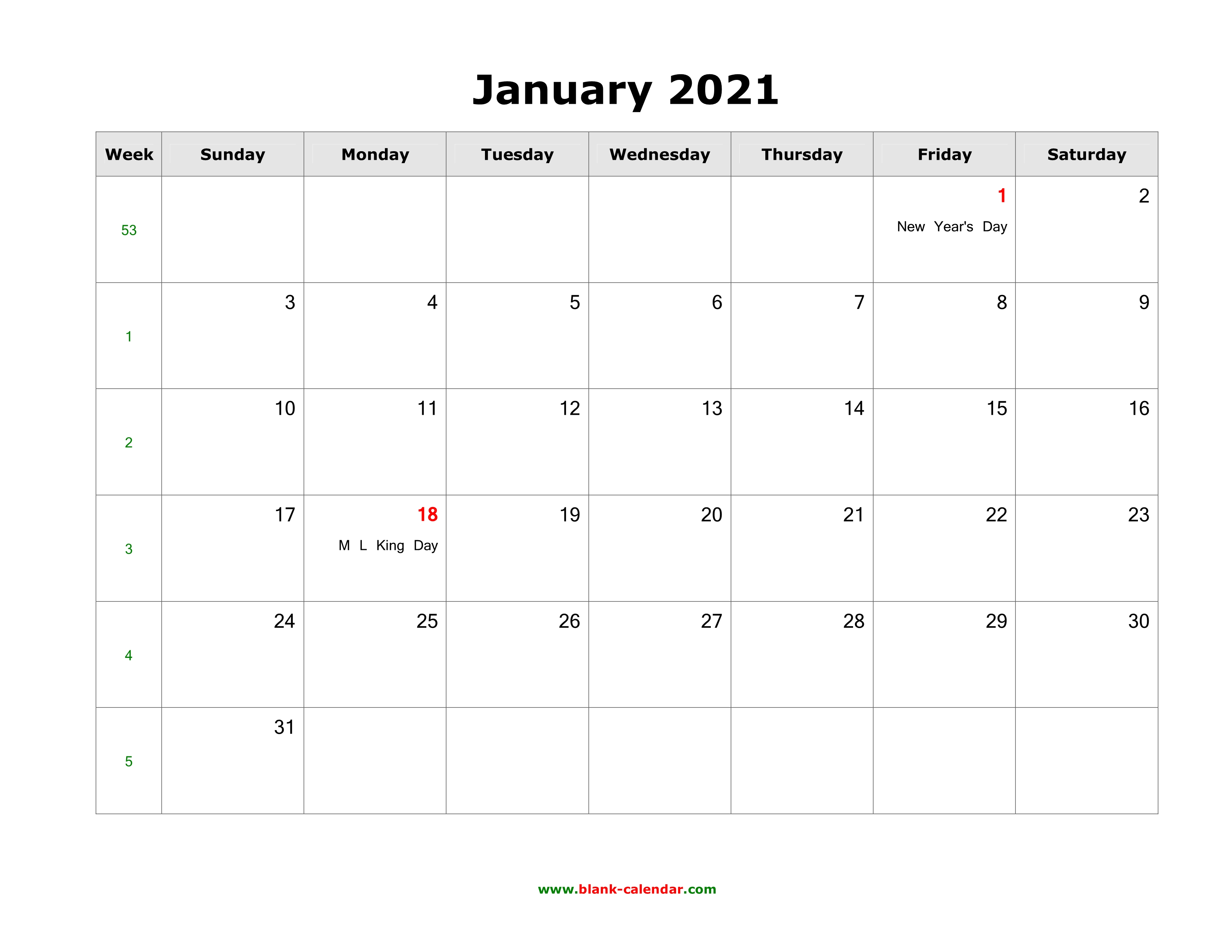Our editors independently research, test, and recommend the best products; January 2021 Blank Calendar   Free Download Calendar Templates