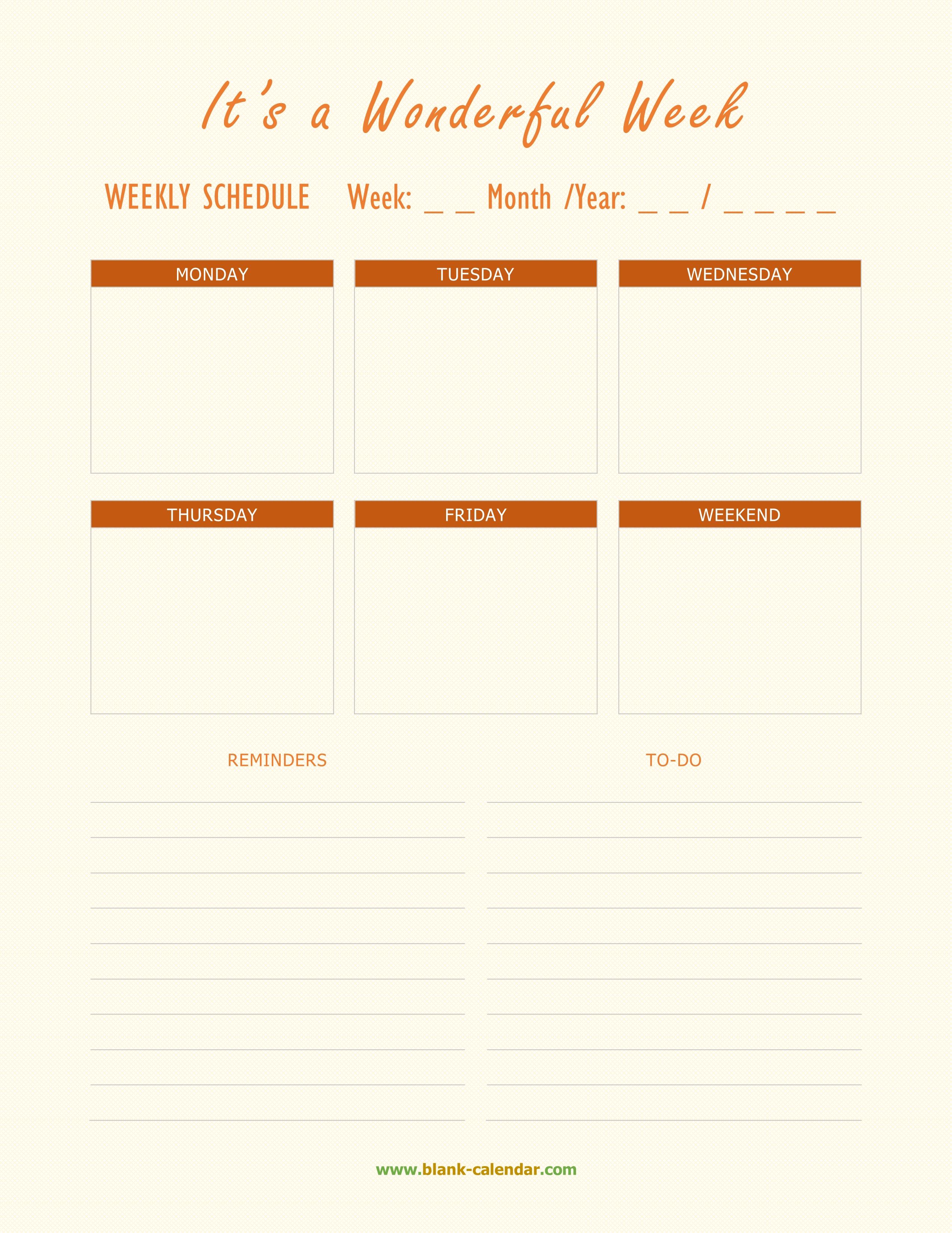 Weekly Schedule Planner Templates Word Excel Pdf