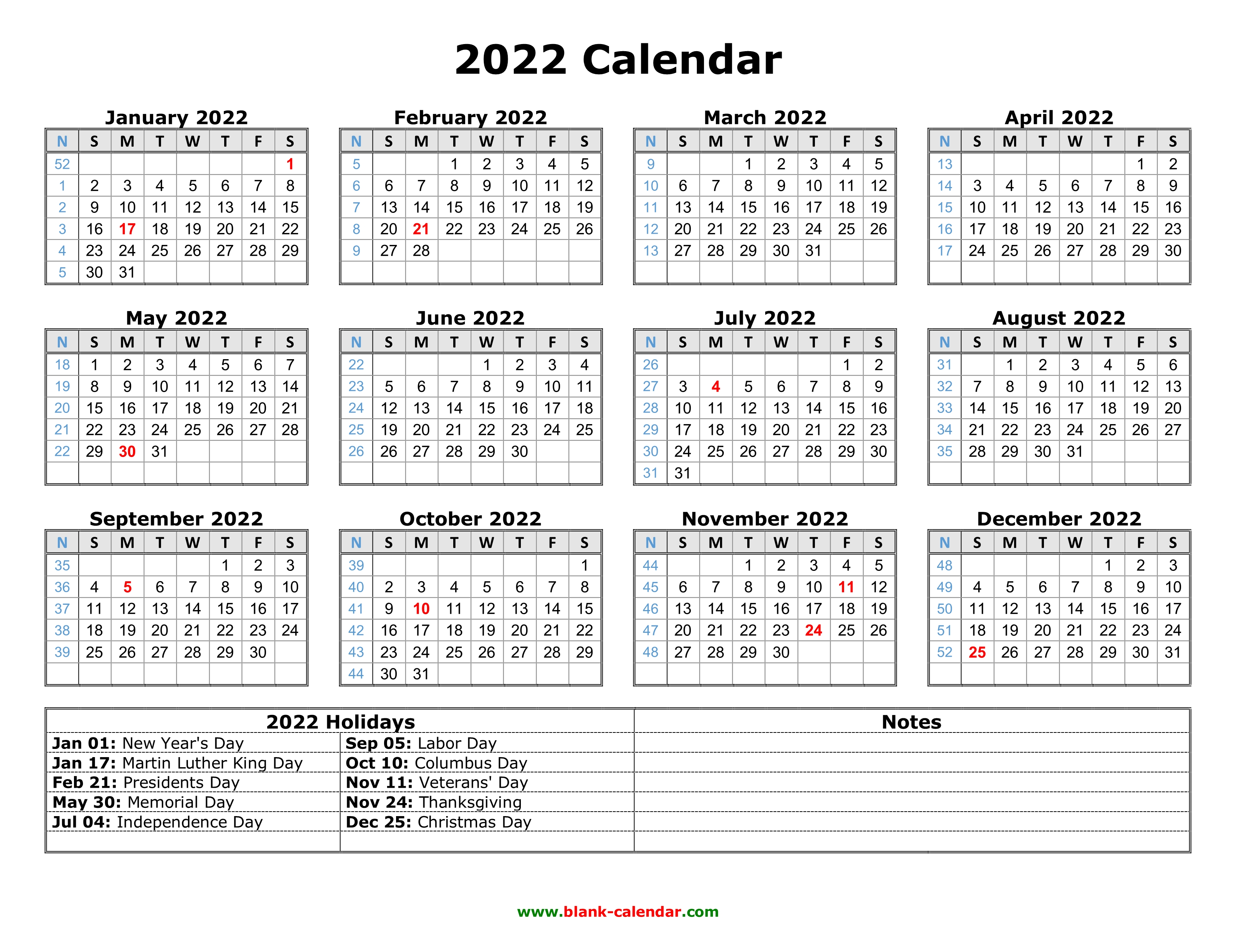 Learn when you should use each. Free Download Printable Calendar 2022 with US Federal ...