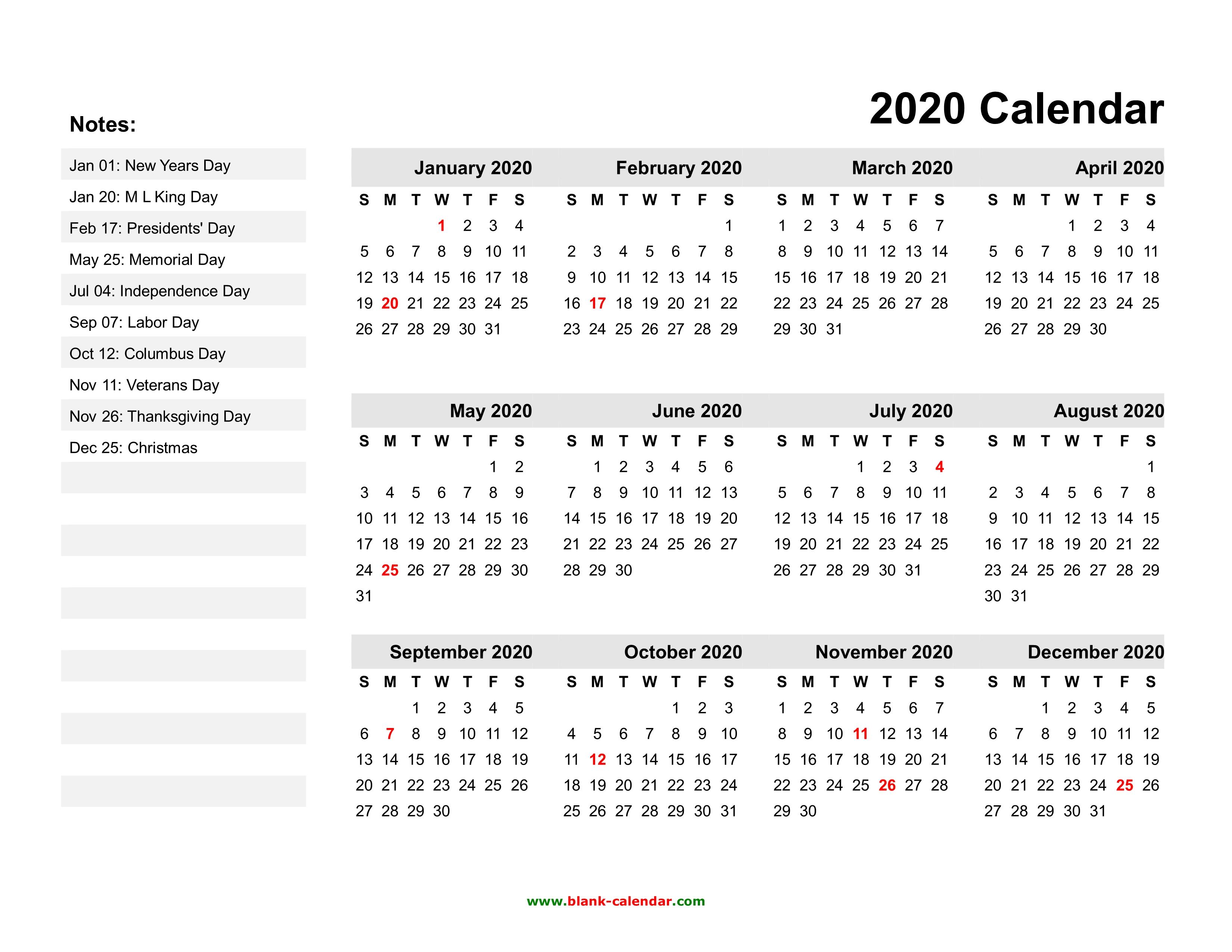 2020 Year Calendar Printable Individual