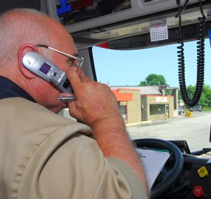 Driver in Cab using Cellphone