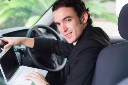 using laptop in car
