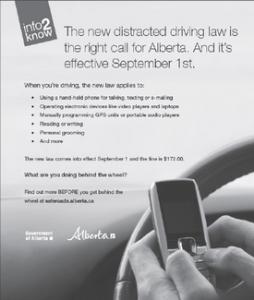 alberta distracted driving laws