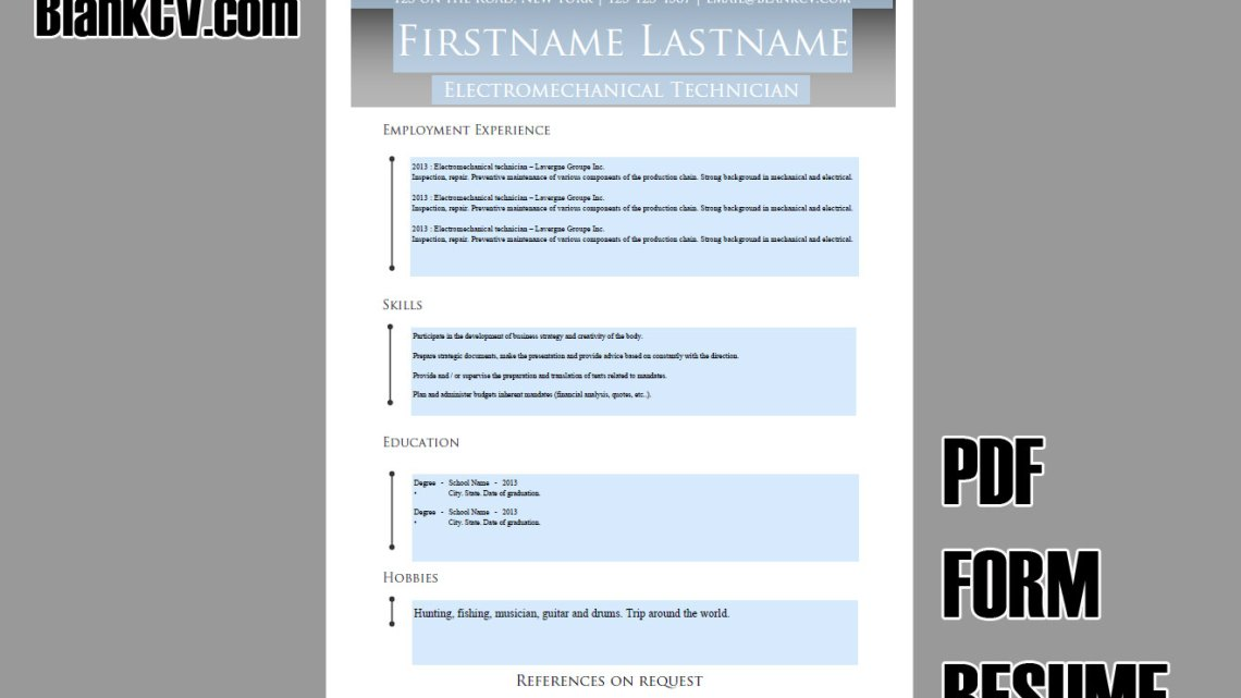 Blank CV Resume #8 Grey