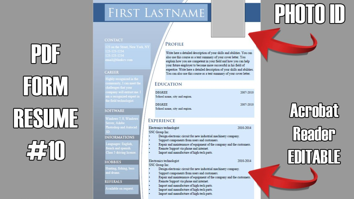 PDF Form Resume with Photo ID