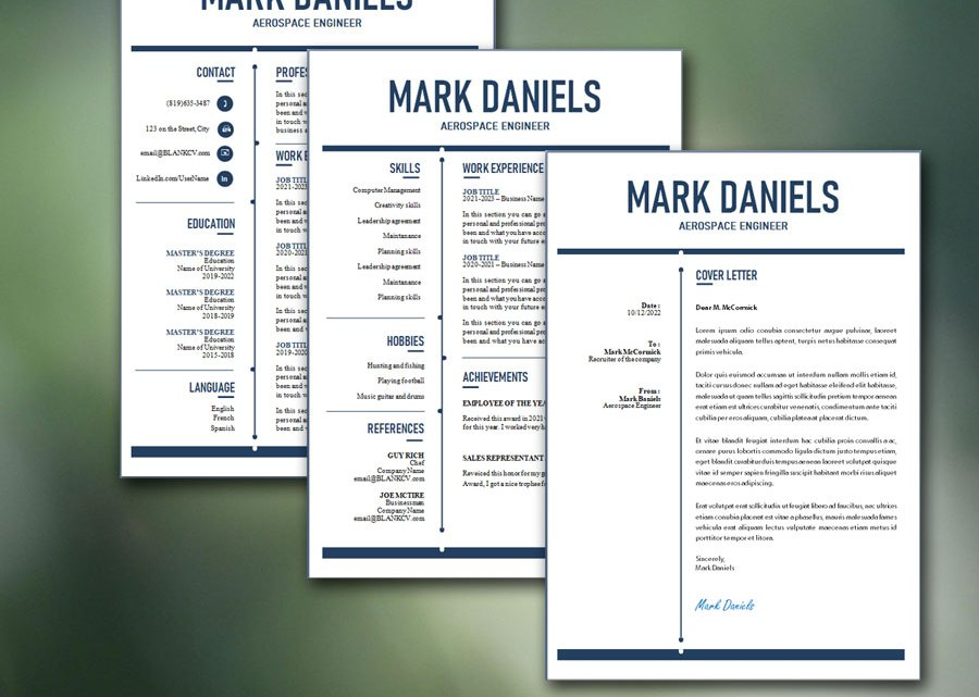 Modern CV Template / Resume Template and Cover Letter | Exclusive Fillable PDF Form | MS Word Template