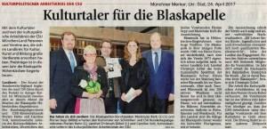 Kulturtaler für die Blaskapelle. Münchner Merkur, Lkr. Süd, 24. April 2017