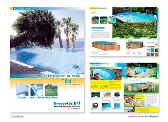 Catalogue de 60 pages réalisé pour un vendeur de piscines