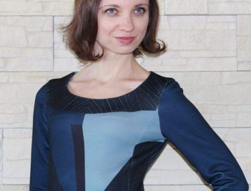 blaues schmales Kleid