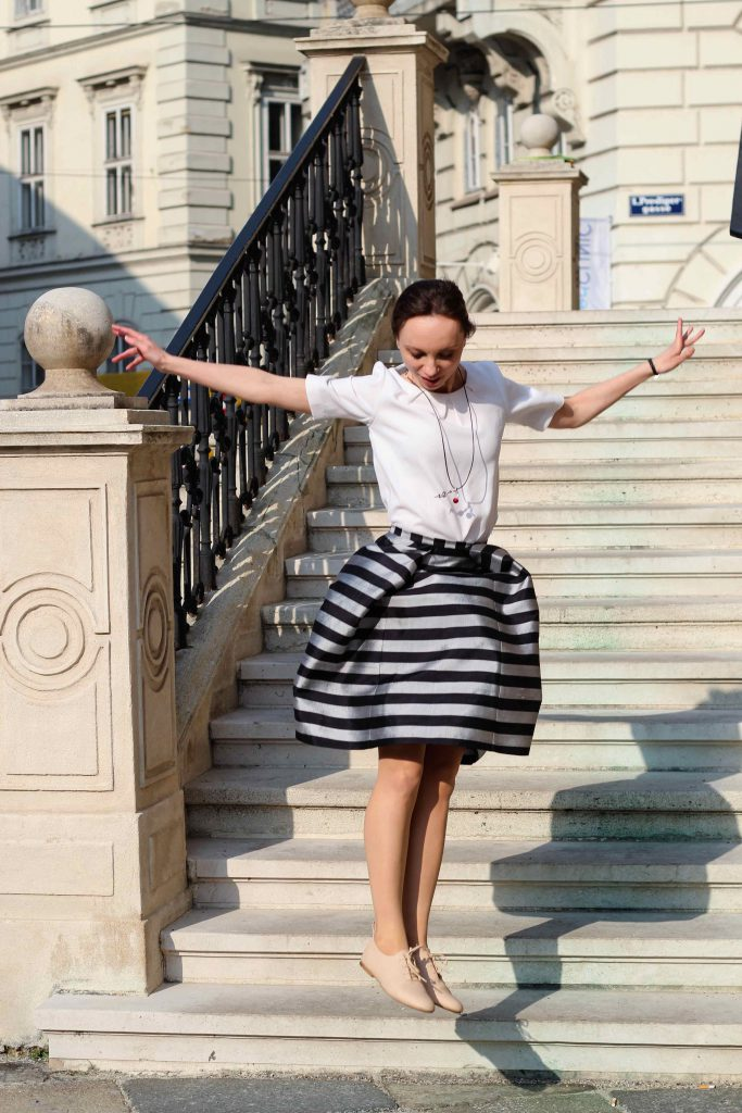 Striped Silk Skirt Midirock aus Seide