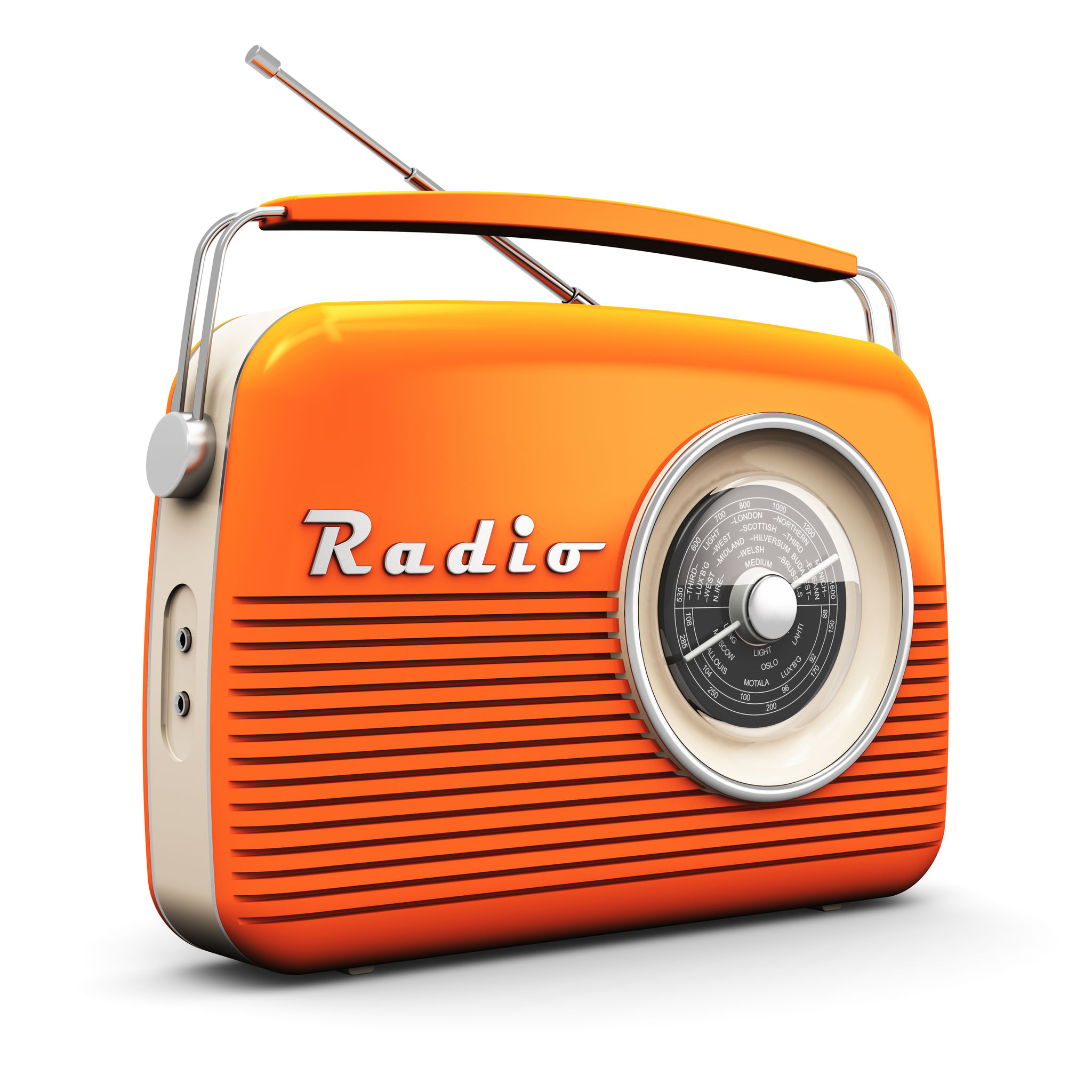 51752648 - old orange vintage retro style radio receiver isolated on white background
