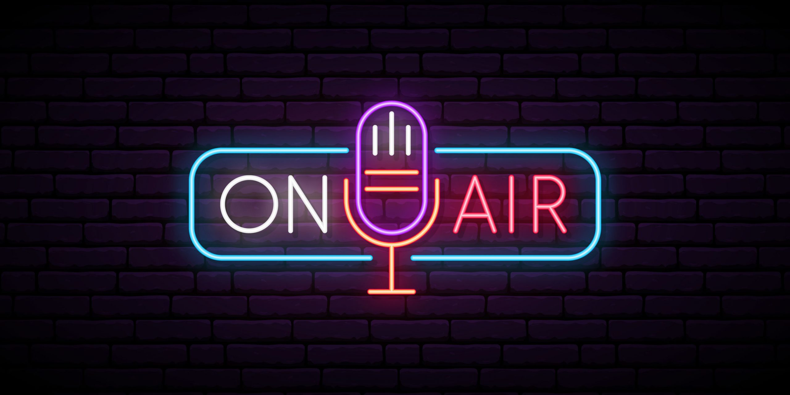 On air neon sign. Retro microphone in frame with inscription On Air. Music or radio emblem. Glowing signboard for radio station. Vector illustration.