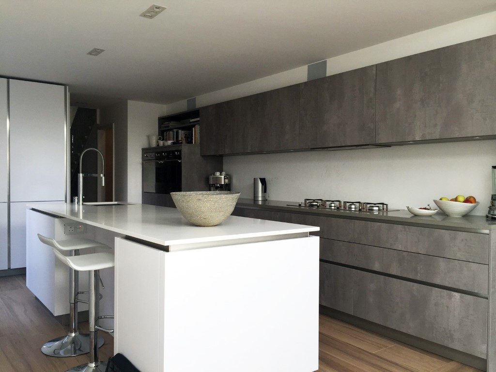 Concrete And Polar White Streatham Hill Blax Kitchens Ltd