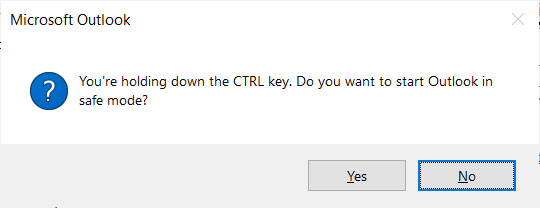Do you want to start Outlook in safe mode?