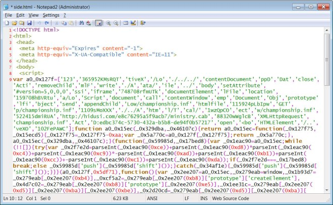 Obfuscated JavaScript in side.html file