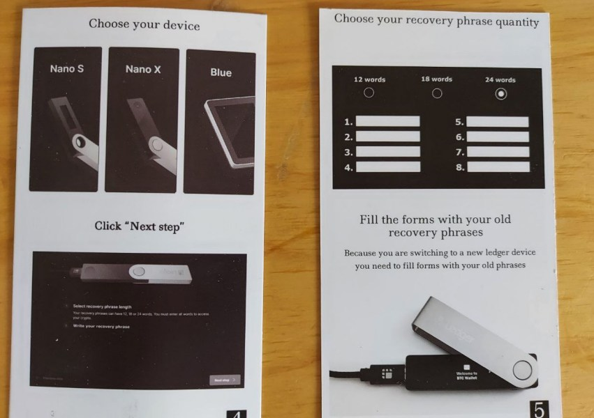 Fake Ledger instructions explaining how to transfer wallet to new device