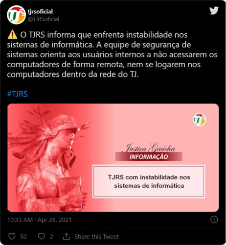 Tweet do TJRS