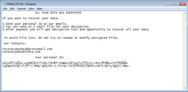 Nota de ransomware planetario