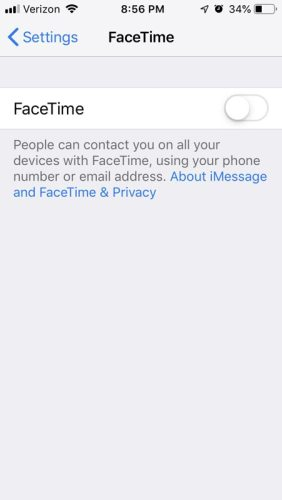 FaceTime Disabled