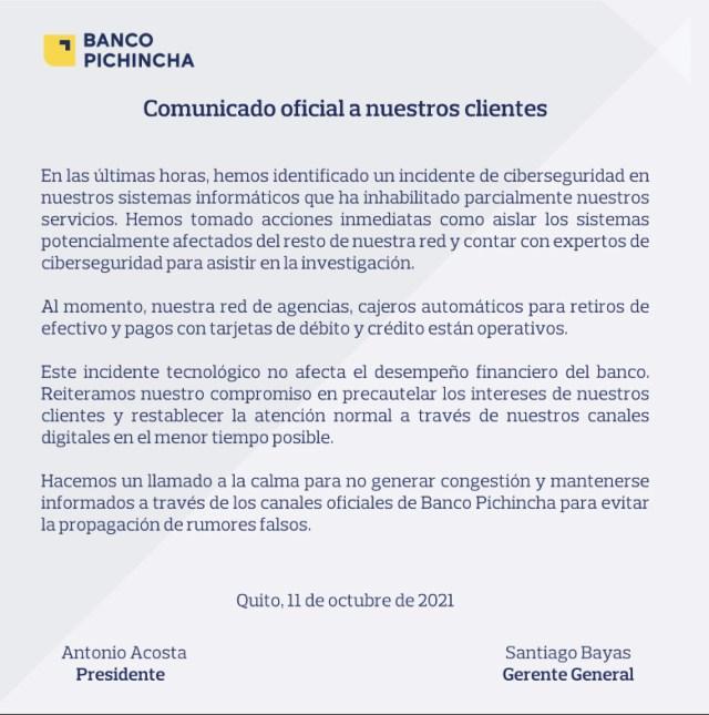 Banco Pichincha statement