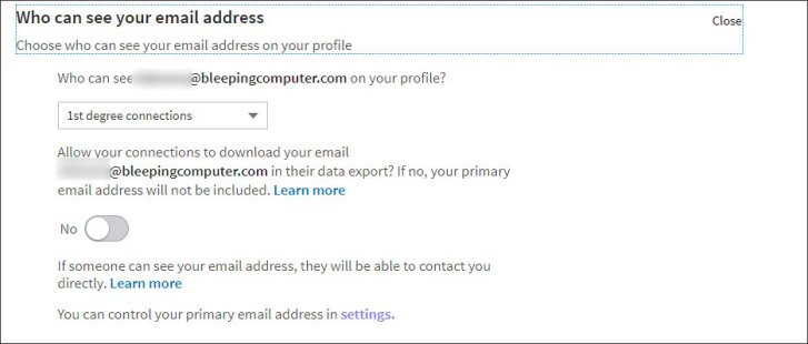 LinkedIn Email Privacy Settings