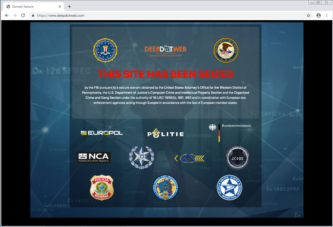 DeepDotWeb Seized by FBI