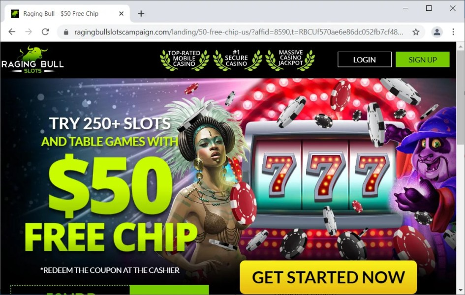 Raging Bull Casino site with affiliate ID in the URL