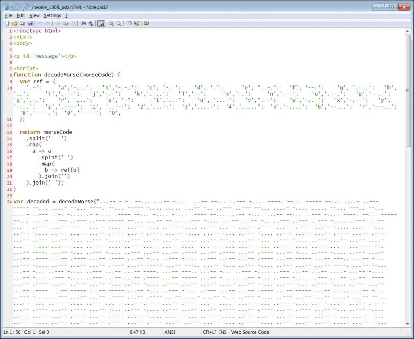 Kaynak kodu HTML kimlik avı eki