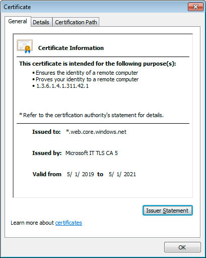 Certificado Windows.net