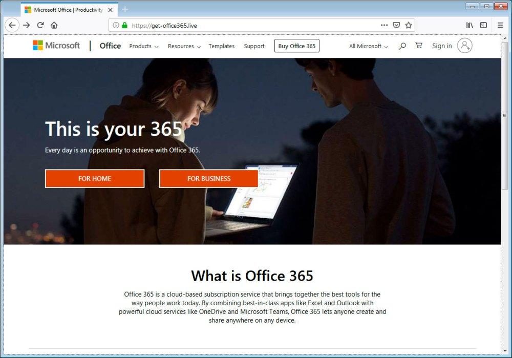 Página do Office 365 falsa