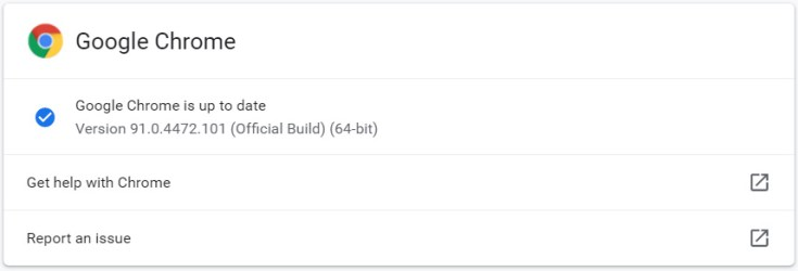 Google updated to version 91.0.4472.10