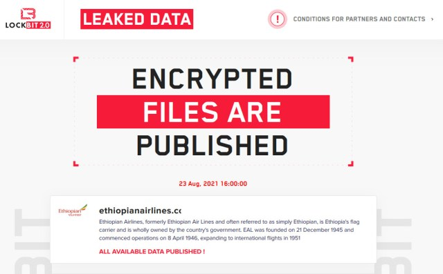 LockBit leaks data stolen from Ethiopian Airlines
