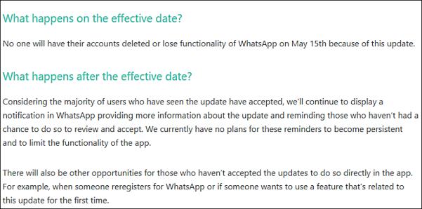 WhatsApp backtracks once again