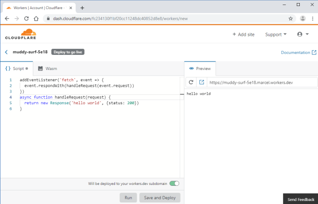 Cloudflare Workers script editor