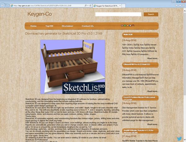 Website spreading Gatak-infected keygens