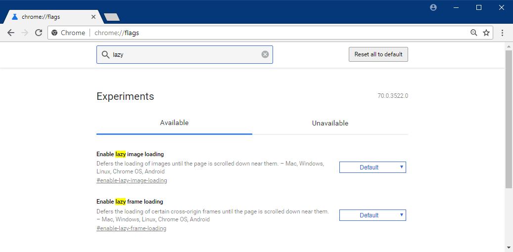 Native Lazy Loading Chrome - Flag Settings